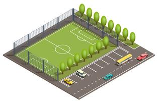 Vecteur 3d terrain de football isométrique, parking