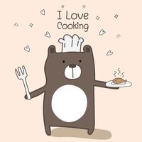 Cute Bear Chef Is Cooking. Vector Illustration.