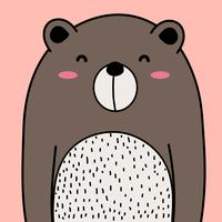 Cool Bear Vector Illustration Background.