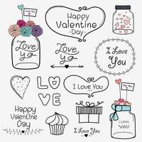 Buon San Valentino. Set di etichette vintage retrò di San Valentino e elementi di tipografia. Illustrazione fatta a mano di vettore per il vostro disegno della carta di nozze.