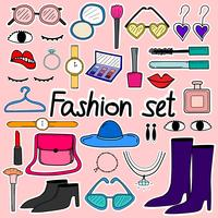 Hand Drawn Doodle Sticker Vector Fashion Set.