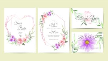 Elegant Bröllop Inbjudan Mall Set Akvarell Floral Frame. Handritning Blomma och grenar Spara datum, hälsning, tack och RSVP-kort Multipurpose