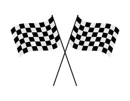 Vector illustration crossed checkered flag on white background