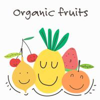 Kawaii Organic Fruits And Vegetables. Vector Illustration.