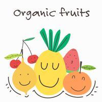 Frutas e verdura orgânicas de Kawaii. Ilustração vetorial.