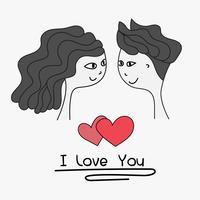 Je t'aime typographie. Cartes de joli couple. Doodle garçon et fille belle carte de mariage ensemble. Illustration vectorielle à la main.