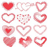 Doodles set of valentines day hearts. Hand drawn sketch vector illustration.