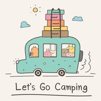 Let's Go Camping Concept. Hand Drawn Cute Animal On Van Vector Illustration.