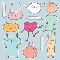 Set av söt djurklistermärke. Vektor illustration.