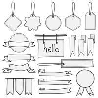 Ensemble de bannières étiquettes dessinés à la main et rubans. Doodle dessinés à la main des éléments isolés sur fond blanc.
