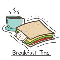 Breakfast Time With Cute Cat Sandwich And Coffee. Vector Illustration.