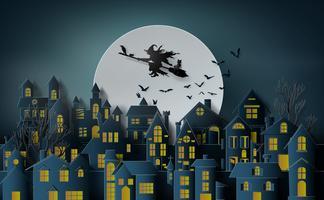 Paper art of happy halloween