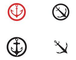 ícones de vetor de modelo de logotipo e símbolo de âncora