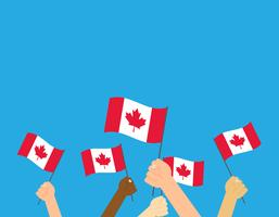 Vector illustration hands holding Canada flags on white background