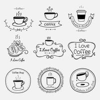 Set Of Vintage Retro Coffee Labels. Retro Elements For Calligraphic Designs. Handmade Vector Illustration.