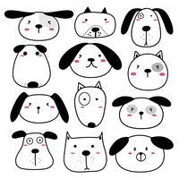 Handdragen söt hund ansikte teckenuppsättning. Vektor illustration.