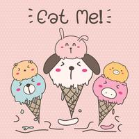 Cute Animal Ice Cream. Hand Drawn Vector Illustration.