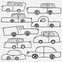 Handdragen Vector Cars Set. Samling av transporter.