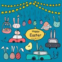 Linea Doodle disegnato a mano felice giorno di Pasqua Vector Set. Doodle Set divertente. Illustrazione vettoriale a mano.