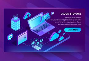 Vector template of site for cloud storage