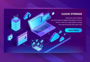 Modelo de vetor de site para armazenamento em nuvem