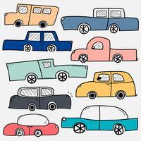 Hand getrokken Vector Cars Set. Verzameling van vervoer.