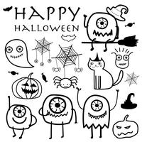 Hand Drawn Monsters Halloween Vector Illustration.