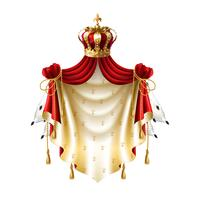 Vector royal baldachin with crown, fringe fur