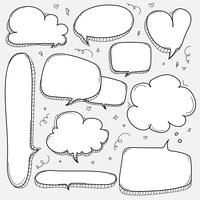 Hand Drawn Bubbles Set. Doodle Style Comic Balloon, Cloud, Heart Shaped Design Elements.