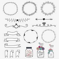 Set Of Hand Drawn Wedding Invitation Vintage Typographic Design Elements Mason Jars, Ribbons, Wreaths And Heart.