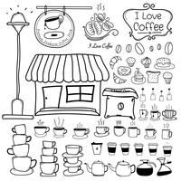 Linea insieme di vettore di Doodle disegnato a mano di caffetteria. Illustrazione vettoriale