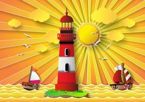 Faro de ilustración vectorial con paisaje marino