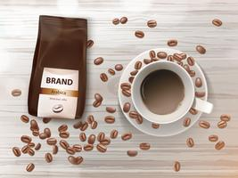 Vector promotion banner with coffee cup and beans