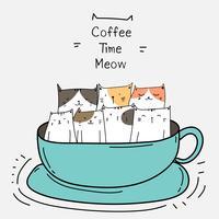 Gatos lindos en la taza. Ilustración de vector de tiempo de café.