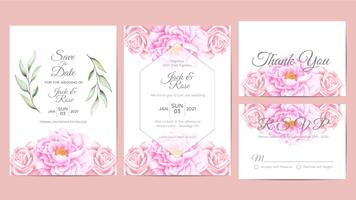 Beautiful Watercolor Floral Wedding Invitation Cards Template. Flower and Branches Save the Date, Greeting, Thank You, and RSVP Cards Multipurpose