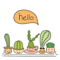 Cute cactus with happy face say hello. vector illustration set.