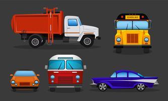 Automobili del fumetto di vettore - scuolabus, camion della spazzatura