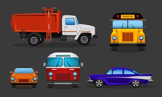 Vector cartoon cars - school bus, garbage truck