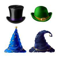 Coiffe Halloween de vecteur - chapeau haut de forme, chapeau melon, casquette