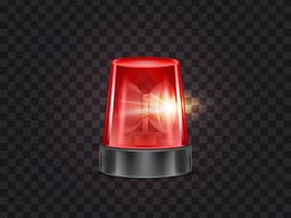 Vector red emergency flashing beacon with siren