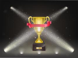 Vector 3d realistic shining golden cup on stage