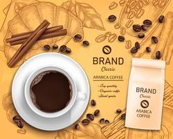 Vector 3d taza de café realista, concepto de paquete