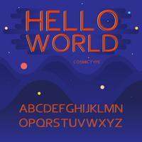 Vector Latijnse alfabetbrieven - ruimte, kosmisch concept