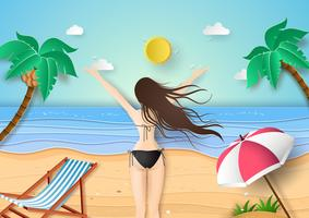junges Mädchen im schwarzen Bikini