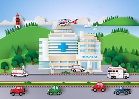 Corte de papel de edificio de hospital