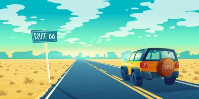 Vector paisaje desértico de dibujos animados con carretera