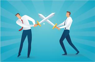 businessman fighting with swords business concept