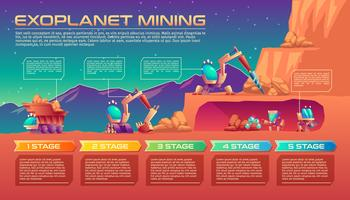 Exoplanet mining vector background con timeline