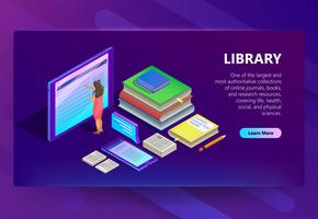 Online library in smartphone vector illustration