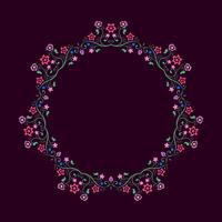 Round frame made of floral elements. Mandala border. vector